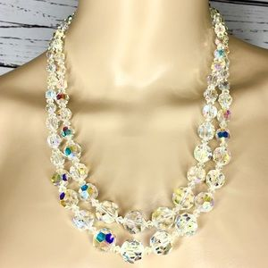 Vintage Iridescent Beaded Necklace Earrings Set